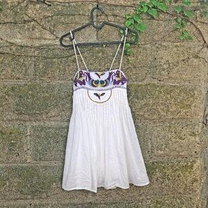 Free People White Embroidered Babydoll Tank 0